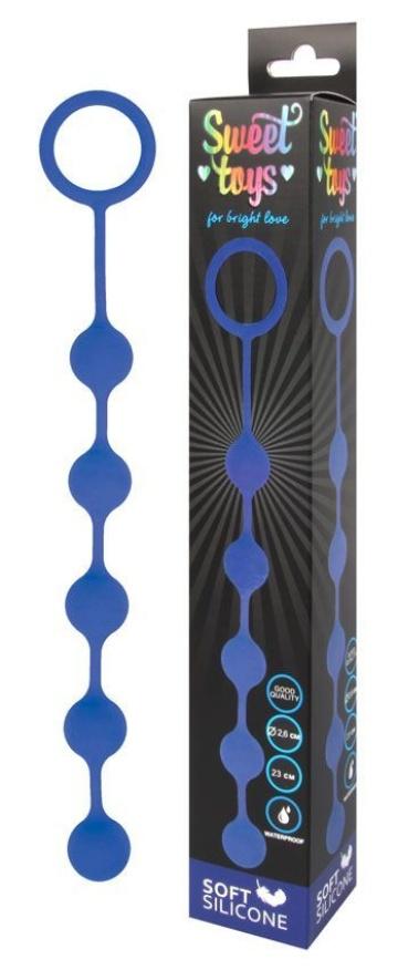 Синяя анальная цепочка с кольцом-ограничителем - 23 см.