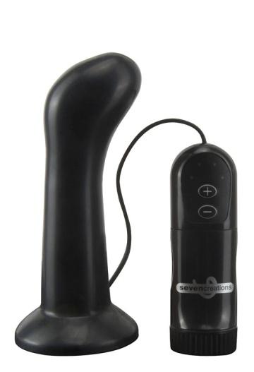 Черная анальная пробка с 4 режимами вибрации E4 CURVE HEAD - 11 см.