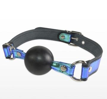 Кляп-шарик на чёрно-синих ремешках