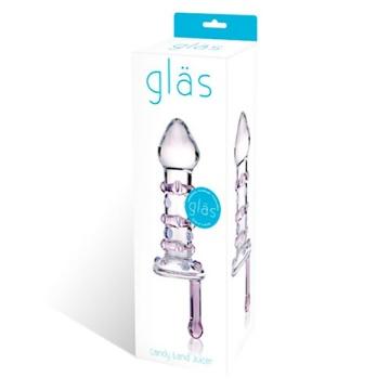 Небольшой стеклянный фаллос с ручкой Candy Land Juicer - 11,5 см.