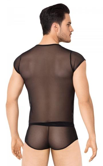 Соблазнительный костюм-сетка в тонкую полоску из wet-look материала