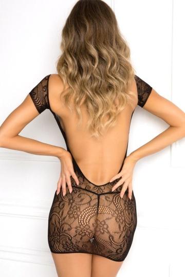 Эффектное коротенькое ажурное платье с открытой спинкой