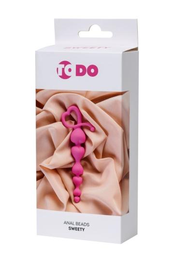 Розовая силиконовая анальная цепочка Sweety - 18,5 см.