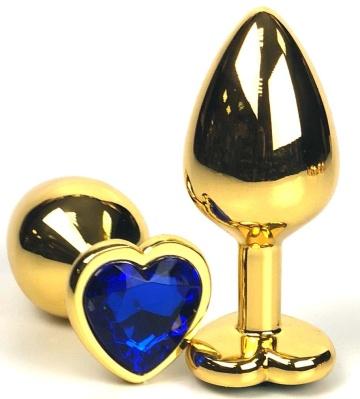 Золотистая анальная пробка с синим кристаллом-сердцем - 8 см.