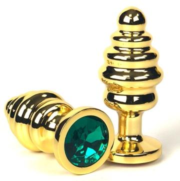 Золотистая ребристая анальная пробка с зеленым кристаллом - 8,5 см.