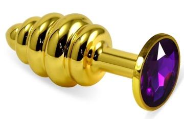 Золотистая ребристая анальная пробка с фиолетовым кристаллом - 7,5 см.