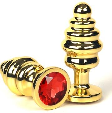 Золотистая ребристая анальная пробка с красным кристаллом - 8,5 см.