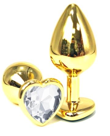 Золотистая анальная пробка с прозрачным кристаллом-сердцем - 6 см.