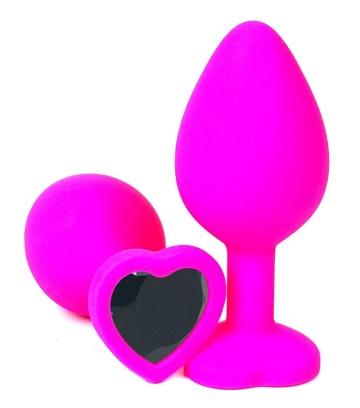 Розовая силиконовая пробка с черным кристаллом-сердцем - 8,5 см.