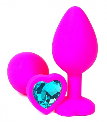 Розовая силиконовая пробка с голубым кристаллом-сердечком - 8 см.