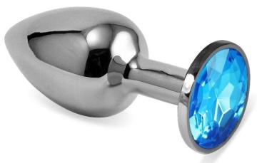Серебристая гладкая анальная пробка с голубым кристаллом - 9 см.
