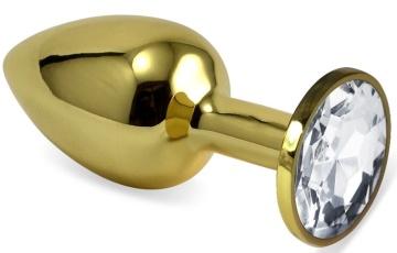 Золотистая анальная пробка с прозрачным кристаллом - 8 см.