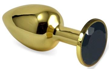 Золотистая анальная пробка с черным кристаллом - 8 см.