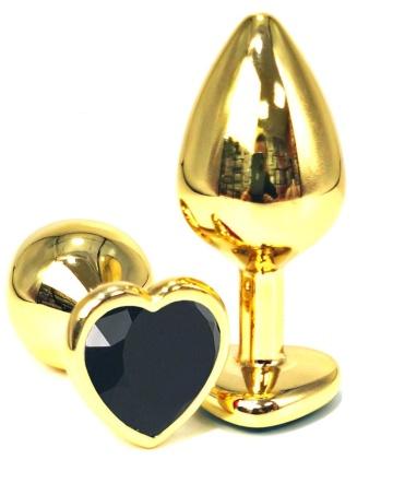 Золотистая анальная пробка с черным кристаллом-сердцем - 6 см.