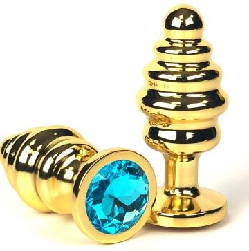 Золотистая ребристая анальная пробка с голубым кристаллом - 8,5 см.