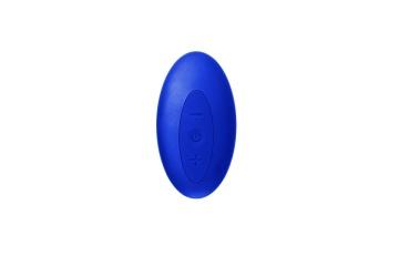 Синий безремневой страпон с пультом ДУ - 17,5 см.