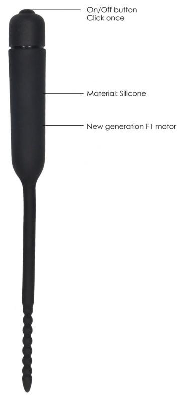 Черный стимулятор уретры с вибрацией Silicone Vibrating Bullet Plug With Beaded Tip