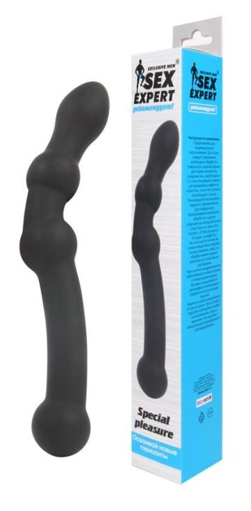 Черный изогнутый двусторонний анальный стимулятор - 22,5 см.