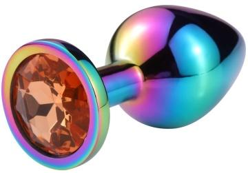 Разноцветная гладкая анальная пробка с красным кристаллом - 7,5 см.