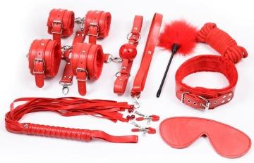 Набор красных БДСМ-аксессуаров Bandage Kits из 10 предметов