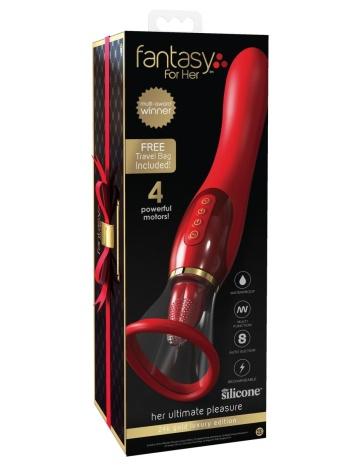 Красный двухсторонний вибростимулятор Ultimate Pleasure 24K Gold Luxury Edition - 25 см.