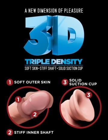 """Телесный фаллоимитатор на присоске 5"""" Triple Density Cock - 15,24 см."""
