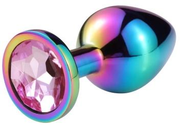 Разноцветная гладкая анальная пробка с нежно-розовым кристаллом - 7,5 см.