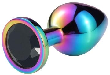 Разноцветная гладкая анальная пробка с черным кристаллом - 7 см.