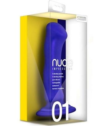Синий перезаряжаемый вибратор Nude Impressions 01 - 15 см.
