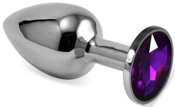 Серебристая гладкая анальная пробка с фиолетовым кристаллом - 5,5 см.