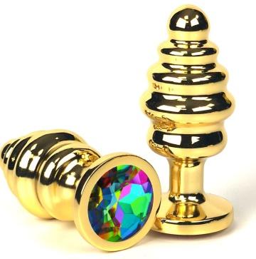 Золотистая ребристая анальная пробка с разноцветным кристаллом - 6 см.