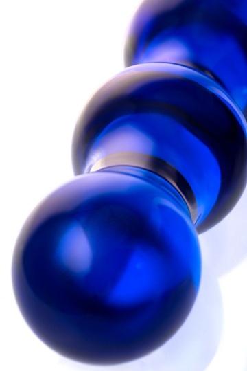 Синий стеклянный фаллоимитатор с наплывами - 20,5 см.