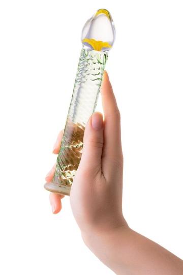 Стеклянный фаллоимитатор со спиралевидным рельефом - 16,5 см.