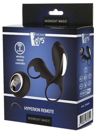 Черная насадка на пенис с вибрацией HYPERION REMOTE - 10 см.