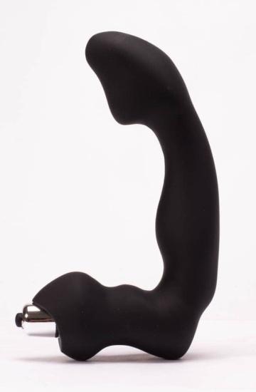 Черный силиконовый массажер простаты Black Mont - 17 см.