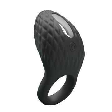Черное эрекционное виброкольцо с рельефным дизайном Heloise