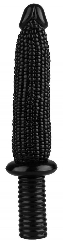 """Черный анальный реалистичный стимулятор """"Кукуруза"""" - 33,5 см."""