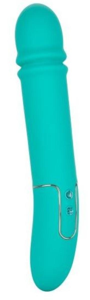 Бирюзовый гладкий вибратор Shameless Flirt - 25,5 см.