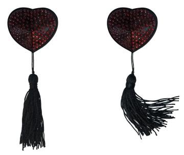 Черно-красные пэстисы-сердечки Evans с кисточками