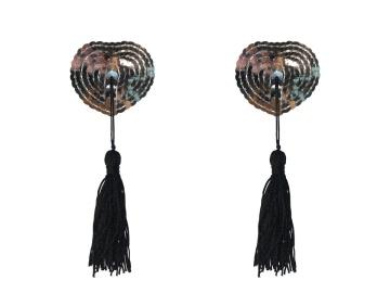 Серебристые пэстисы-сердечки Gipsy с черными кисточками