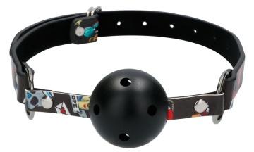 Черный кляп-шарик Breatheable Ball Gag Old School Tattoo Style