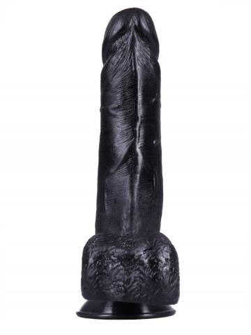 Черный фаллоимитатор-реалистик на присоске №1 - 19 см.