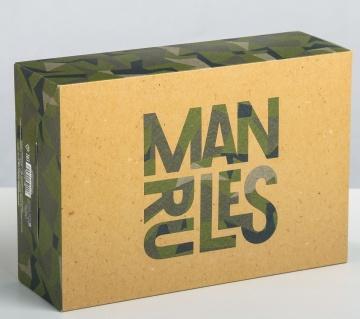 Складная коробка Man rules - 16 х 23 см.