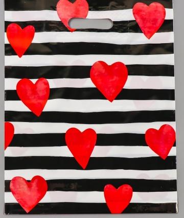 """Полиэтиленовый пакет """"Красные сердечки"""" - 31 х 40 см."""