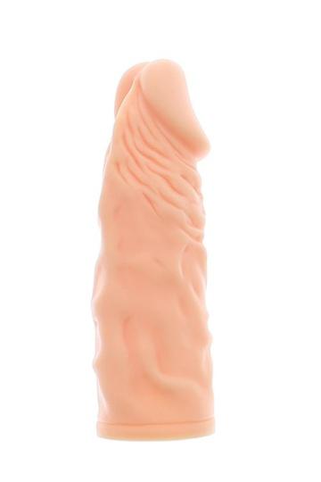 Телесная реалистичная насадка на пенис SUPER STRETCH EXTENDER 5.5INCH - 14 см.