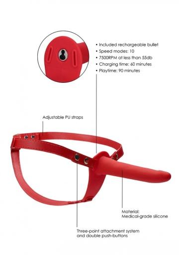 Красный вибрострапон Silicone Strap-On Adjustable - 15,5 см.
