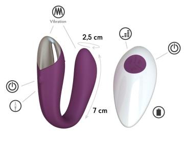 Фиолетовый вибратор для пар Fera с пультом ДУ