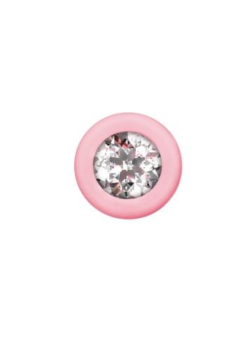 Розовая анальная цепочка с кристаллом Chummy - 16 см.