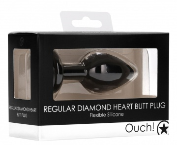 Черная анальная пробка с прозрачным стразом Diamond Heart Butt Plug - 7,3 см.