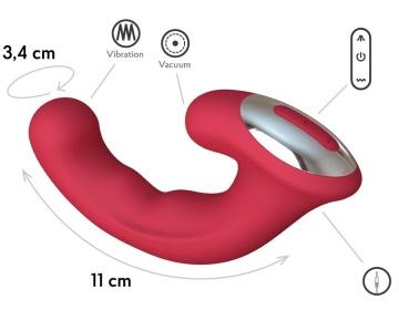 Бордовый вибратор Phoenix с вакуумной стимуляцией клитора - 18 см.